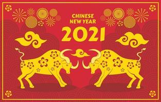 Golden Ox Chinese New Year 2021 vector