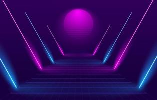 80s Style Path With Neon Lights vector