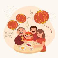 Family Dinner at Chinese New Year vector