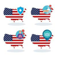 usa flag and map in set covid19 icons vector
