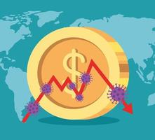 stock market variation by covid 19 with coin and world planet vector
