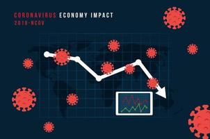 infographic of economy impact by covid 19 vector
