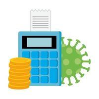 calculadora con pila de monedas y partícula covid 19
