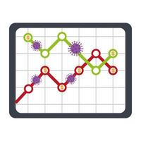 stock market variation by covid 19 with tablet device and icons vector