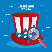 usa flag in hat with magnifying glass and covid19 particles vector