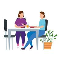 young women couple stay at home eating in table vector