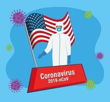 Trabajador de bioseguridad con bandera de EE. UU. y pandemia covid19 vector