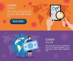 Establecer banners de impacto económico para 2019 ncov con iconos vector