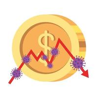 stock market variation by covid 19 with coin and icons vector