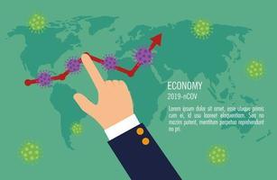 mano e infografía del impacto económico por covid 19 vector