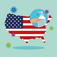 usa map and flag with covid19 particles and antibacterial bottle