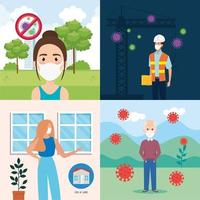 people using face mask for covid19 vector