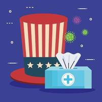 usa flag in hat with damp cloths and covid19 particles vector