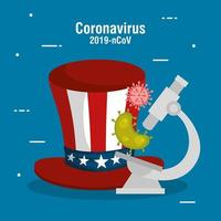 usa flag in hat with microscope and covid19 particles vector