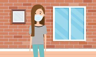 mujer que usa mascarilla para la pandemia covid19 vector