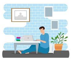joven quedarse en casa usando laptop vector