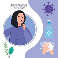 woman sick with covid19 set icons