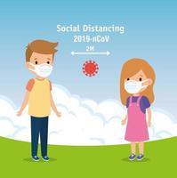campaña de distanciamiento social para covid 19 con niños usando mascarilla