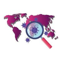 earth map with covid19 particles and magnifying glass vector