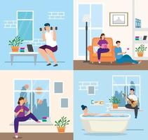 young couple stay at home in bathtub vector