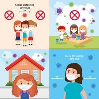 set scenes of children using face mask vector