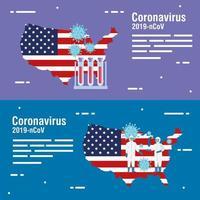 Mapa de Estados Unidos y bandera con pruebas de tubos y partículas covid19 vector