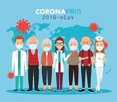 doctors and old people using face masks for covid19 pandemic vector