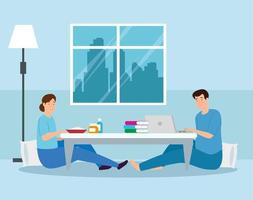 young couple eating food and using laptop vector