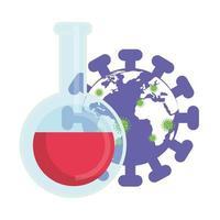 Planeta mundial con partículas covid 19 y prueba de tubo.