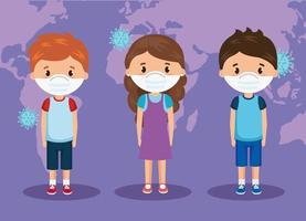 cute group children using face mask vector