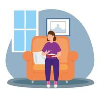 young woman eating in sofa vector