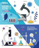 set poster of microbiology for covid 19 and medical icons vector
