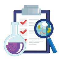 document with magnifying glass and medical icons vector