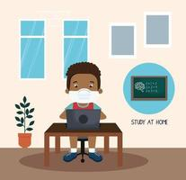 stay at home campaign with boy afro studying online vector