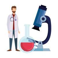 médico con tubo de prueba y microscopio