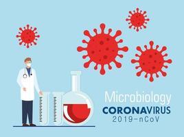 microbiología para covid 19 con doctor y prueba de tubos vector