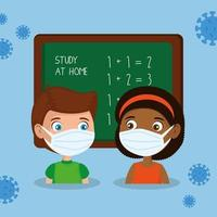 stay at home campaign with children studying using face mask vector