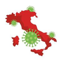 italy map with covid19 particles vector