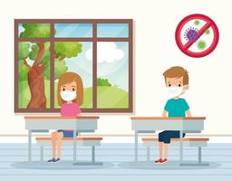 cute students using face mask in classroom vector