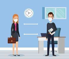 pareja de negocios usando mascarilla y distanciamiento social para covid19 vector