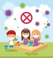 cute children using face mask playing in park vector