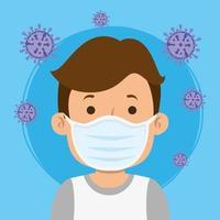 Hombre usando mascarilla facial para la pandemia covid19 vector