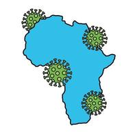 africa continent with covid19 particles vector