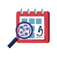 calendar with microscope and particles covid 19 vector