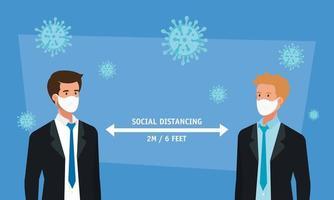 hombres de negocios que usan mascarilla y distanciamiento social para covid19 vector