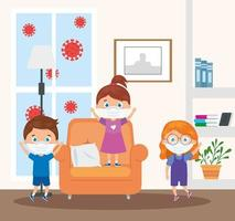cute children using face mask in house