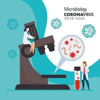 microbiology for covid 19 with doctors female and microscope vector