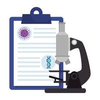 microscope with particle covid 19 in clipboard and dna structure vector