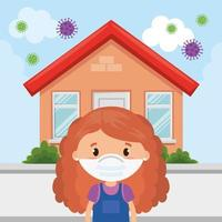cute girl using face mask with house facade vector