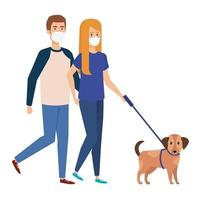 young couple using face mask walking with dog